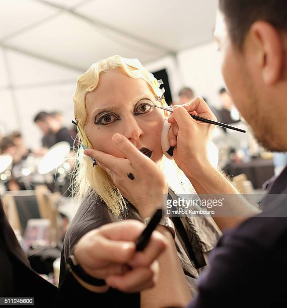Singersongwriter Lady Gaga prepares backstage at Marc Jacobs Fall 2016 fashion show during new York Fashion Week at Park Avenue Armory on February 18...