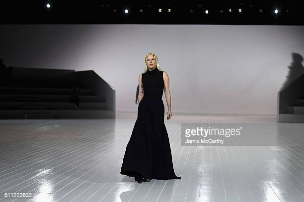 Singersongwriter Lady Gaga prepares during rehearsal at Marc Jacobs Fall 2016 fashion show during new York Fashion Week at Park Avenue Armory on...