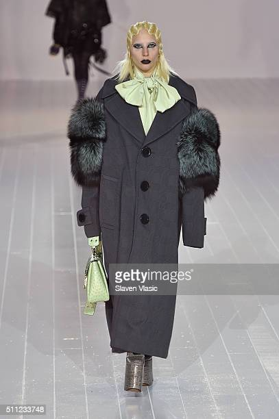 Singer-songwriter Lady Gaga walks the runway wearing Marc Jacobs Fall 2016 during New York Fashion Week at Park Avenue Armory on February 18, 2016 in...