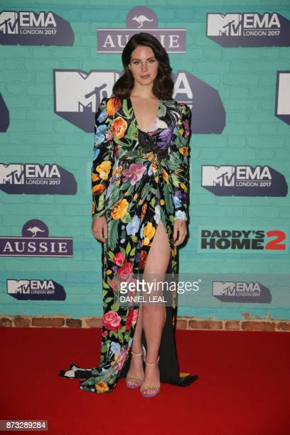US singersongwriter Lana Del Ray poses on the red carpet arriving to attend the 2017 MTV Europe Music Awards at Wembley Arena in London on November...