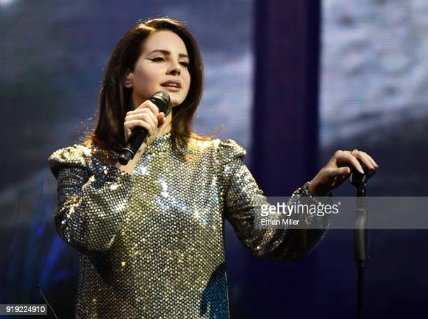 "Singer/songwriter Lana Del Rey performs during a stop of her LA to the Moon Tour in support of the album ""Lust for Life"" at the Mandalay Bay Events..."