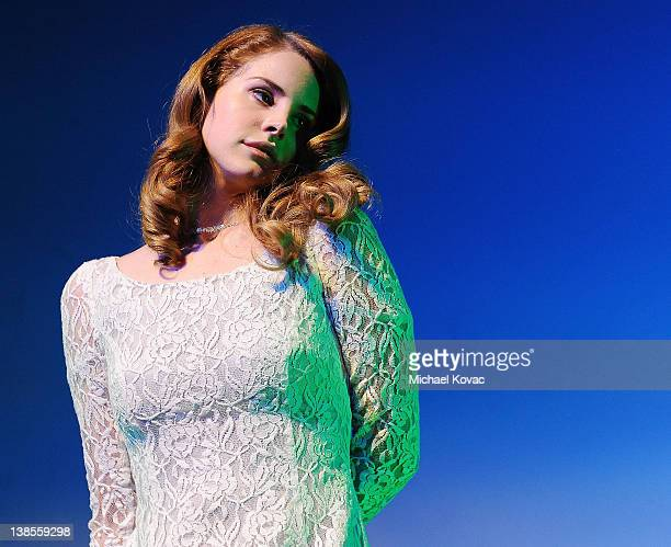 Singer/songwriter Lana Del Rey performs onstage at the PE Wing Event at The Village Recording Studios on February 8 2012 in Los Angeles California