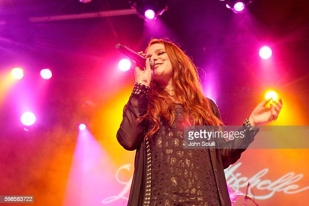 Singer/songwriter Laura Michelle performs onstage during the album release party for Laura Michelle's Novel With No End at El Rey Theatre on...