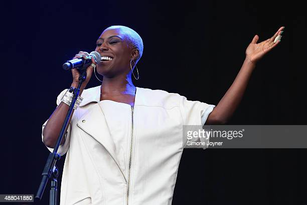 Singersongwriter Laura Mvula performs live on the main stage during day two of the On Blackheath Festival at Blackheath Common on September 13 2015...