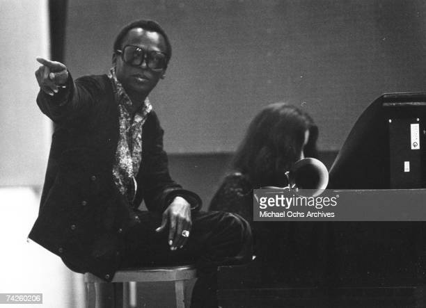 Singer/songwriter Laura Nyro records in the studio with Jazz trumpet player Miles Davis on July 16 1969 in New York City New York