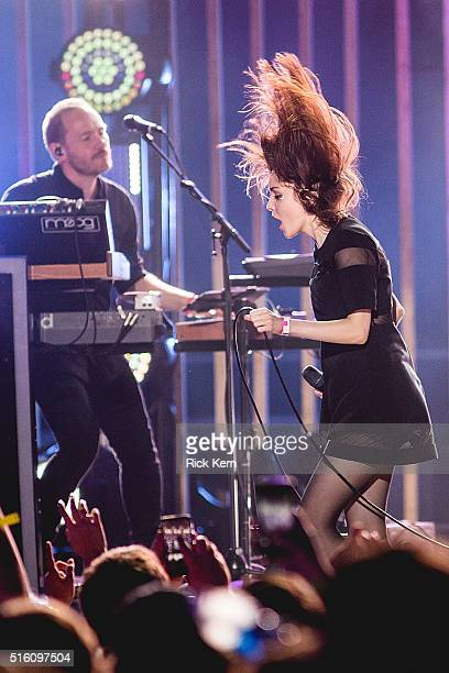 Singersongwriter Lauren Mayberry of Chvrches performs onstage during the 12th Annual mtvU Woodie Awards on March 16 2016 in Austin Texas