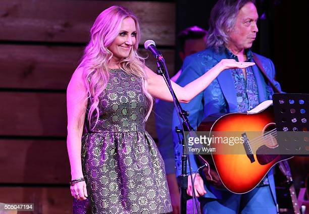 Singersongwriter Lee Ann Womack joins Buddy Miller and Jim Lauderdale for the The Buddy Jim radio show at City Winery Nashville on January 14 2016 in...