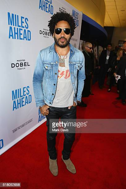 Singer/songwriter Lenny Kravitz attends the premiere of Sony Pictures Classics' Miles Ahead at Writers Guild Theater on March 29 2016 in Beverly...