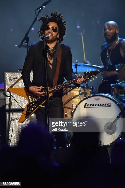 Singersongwriter Lenny Kravitz pays tribute to 2004 Inductee Prince onstage at the 32nd Annual Rock Roll Hall Of Fame Induction Ceremony at Barclays...