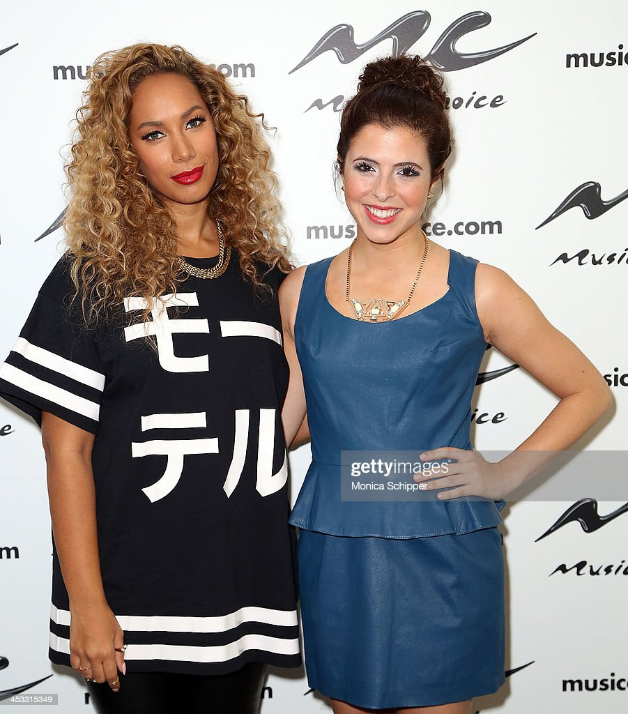 Singer-songwriter Leona Lewis and 'You & A' host Clare Galterio visit Music Choice's 'You & A' at Music Choice on December 3, 2013 in New York City.
