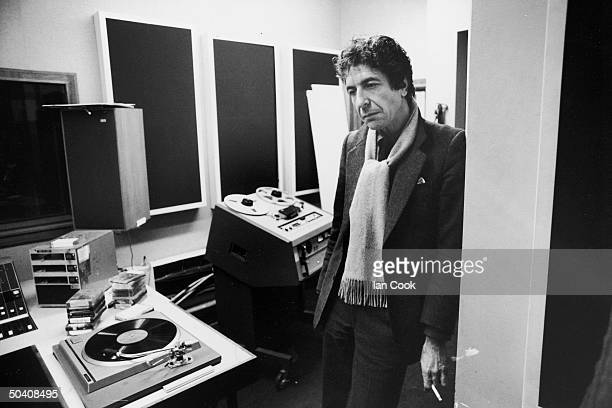 Singer/Songwriter Leonard Cohen in recording studio