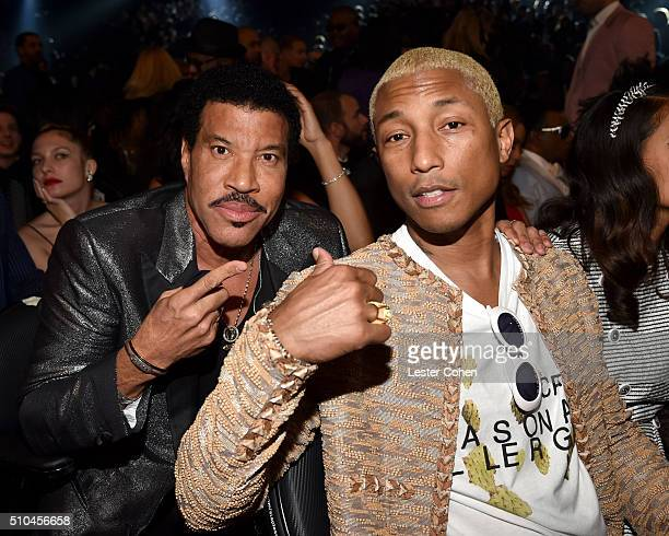 Singersongwriter Lionel Richie and recording artist Pharrell Williams attend The 58th GRAMMY Awards at Staples Center on February 15 2016 in Los...