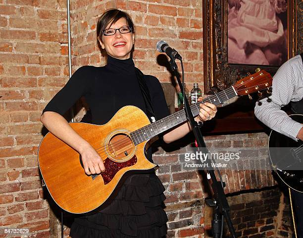 Singersongwriter Lisa Loeb performs at the Kidscreen Summit cocktail reception at Little Airplane Productions on February 10 2009 in New York City
