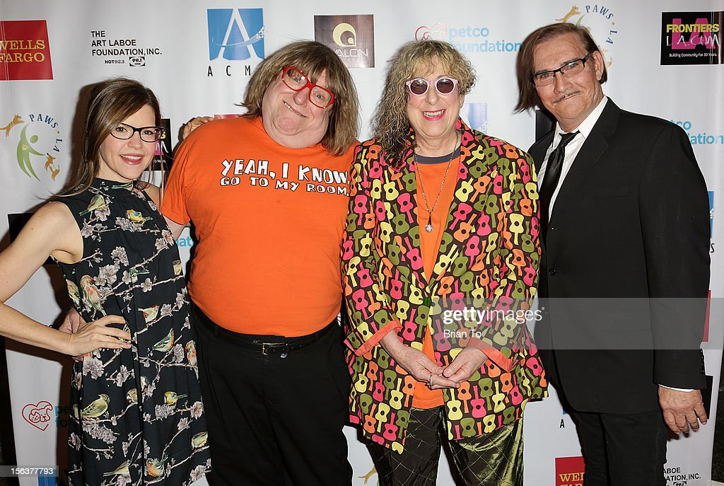Singer-songwriter Lisa Loeb, writer Bruce Vilanch, songwriter Alle Willis, and John Paragon attend PAWS/LA presents An Evening of Comedy and Kitsch at Avalon on November 13, 2012 in Hollywood, California.
