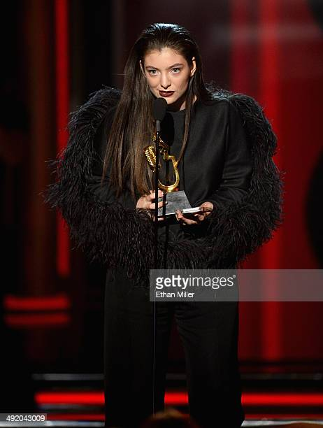 Singer/songwriter Lorde accepts the award for Top New Artist onstage during the 2014 Billboard Music Awards at the MGM Grand Garden Arena on May 18...