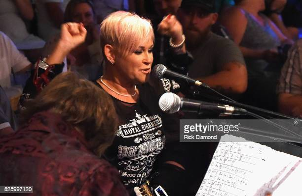 Singer/Songwriter Lorrie Morgan performs during An Intimate Night With The Morgans Lorrie Morgan Marty Morgan And Guests at Bluebird Cafe on August 2...