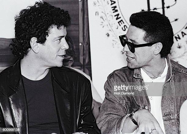 Singer/Songwriter Lou Reed and U2's Larry Mullen Jr attend a press conference discussing The Conspiracy of Hope tour celebrating Amnesty...