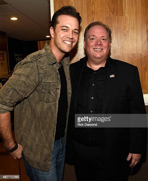Singer/Songwriter Lucas Hoge and Kirt Webster Webster PR backstage during Dolly Parton Pure Simple Benefiting The Opry Trust Fund at Ryman Auditorium...