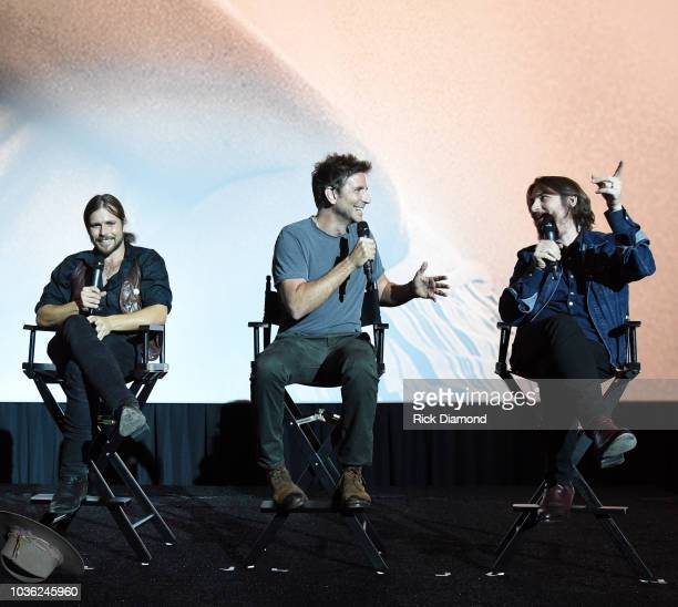 Singer/Songwriter Lukas Nelson Actor/Director Bradley Cooper and Music Producer Dave Cobb attend 'A Star Is Born' screening with Bradley Cooper and...