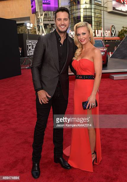 Singersongwriter Luke Bryan and Caroline Boyer attend the 2014 American Music Award at Nokia Theatre LA Live on November 23 2014 in Los Angeles...