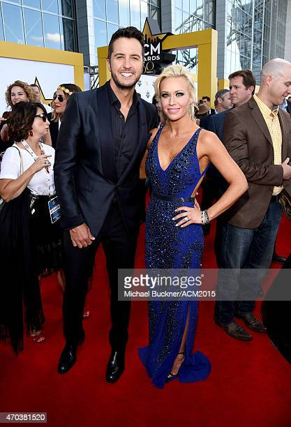 Singersongwriter Luke Bryan and Caroline Boyer attend the 50th Academy of Country Music Awards at ATT Stadium on April 19 2015 in Arlington Texas