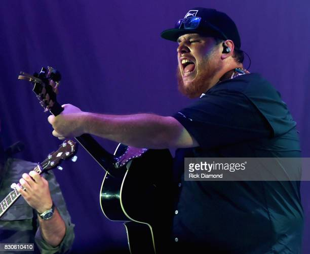 Singer/Songwriter Luke Combs performs during Jason Aldean 2nd Annual Concert For The Kids at Macon Centreplex on August 11 2017 in Macon Georgia