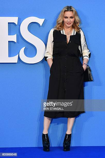 US Singersongwriter Madonna poses arriving on the red carpet to attend a special screening of the film The Beatles Eight Days A Week The Touring...