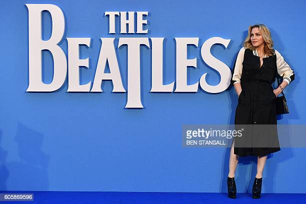 US Singersongwriter Madonna poses arriving on the red carpet to attend a special screening of the film 'The Beatles Eight Days A Week The Touring...