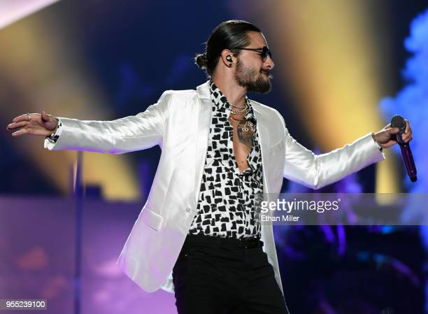 Singer/songwriter Maluma performs at the Mandalay Bay Events Center in support of his upcoming album FAME on May 5 2018 in Las Vegas Nevada