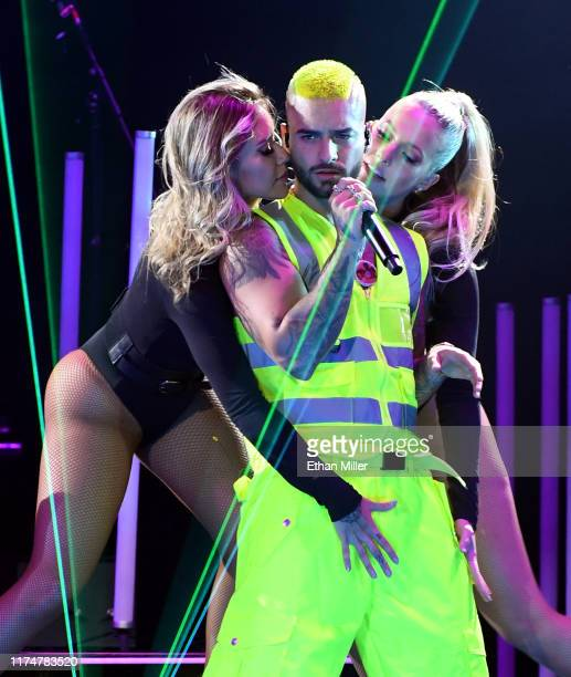 Singer/songwriter Maluma performs with dancers at the Mandalay Bay Events Center on September 14, 2019 in Las Vegas, Nevada.