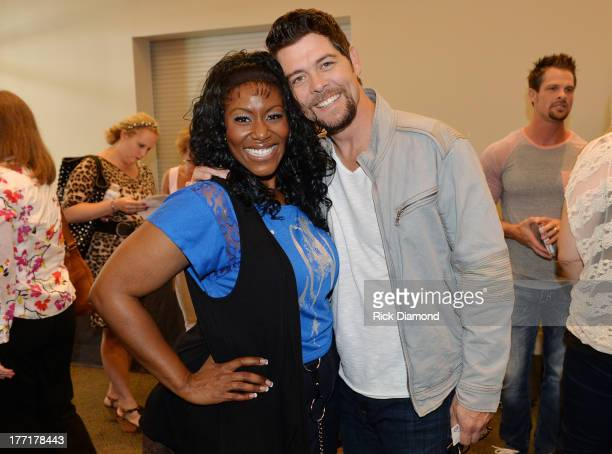Singer/Songwriter Mandisa and Jason Crabb attends the 44th Annual GMA Dove Awards Nominations Press Conference at Allen Arena, Lipscomb University on...