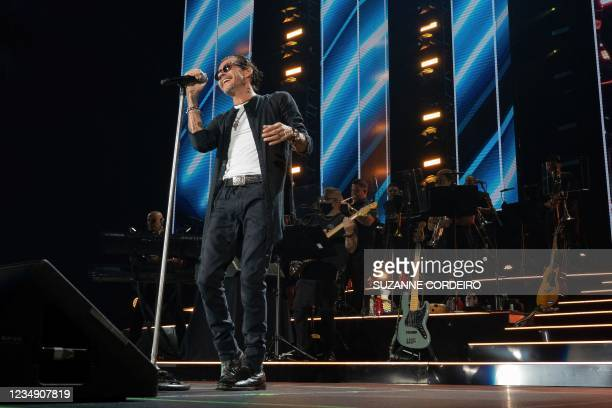 """Singer/songwriter Marc Anthony performs during the kick off show of his """"Pa'lla Voy"""" tour at the AT&T Center in San Antonio, Texas, August 27, 2021."""