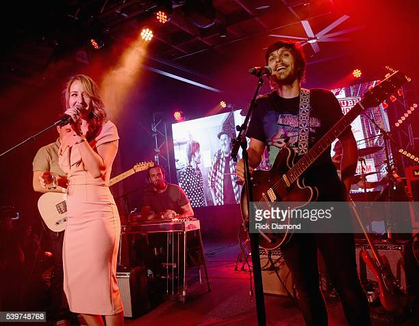Singer/Songwriter Margo Price joins Charlie Worsham on stage during Charlie Worsham's Midnight Jam Day 3 on June 10 2016 in Nashville Tennessee