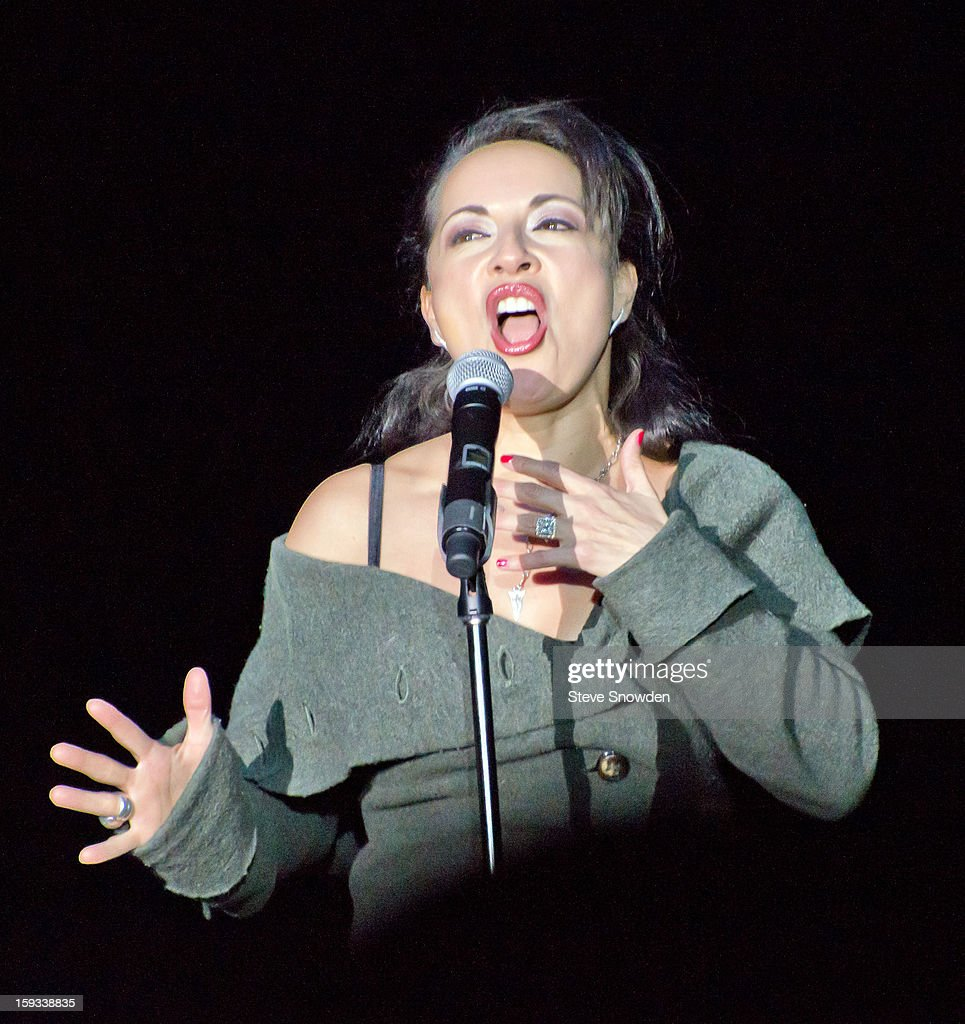 Singer/Songwriter Margo Rey, wife of comedian Ron White, performs on stage during his performance at Route 66 Casino's Legends Theater on January 11, 2013 in Albuquerque, New Mexico.