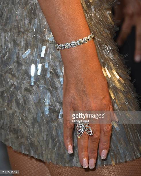 Singer/songwriter Mariah Carey jewelry detail arrives at 1 OAK Nightclub at the Mirage Hotel Casino as she celebrates the second run of her Caesars...