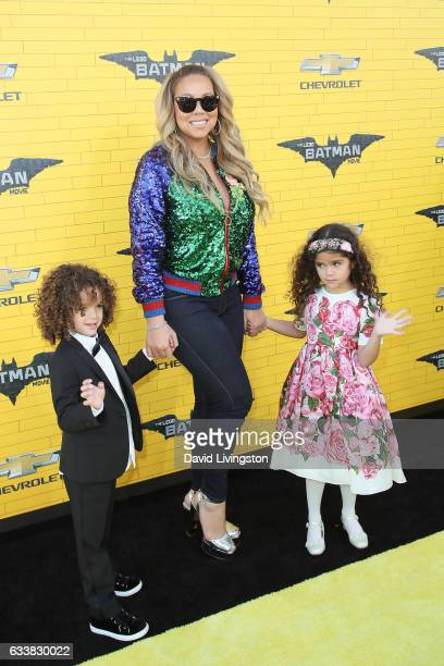 Singersongwriter Mariah Carey Moroccan Scott Cannon and Monroe Cannon attend the Premiere of Warner Bros Pictures' 'The LEGO Batman Movie' at the...
