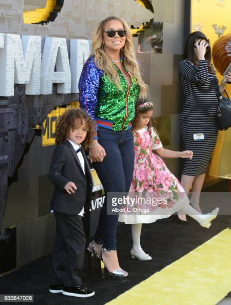 Singersongwriter Mariah Carey Moroccan Scott Cannon and Monroe Cannon arrive for the Premiere Of Warner Bros Pictures' The LEGO Batman Movie held at...