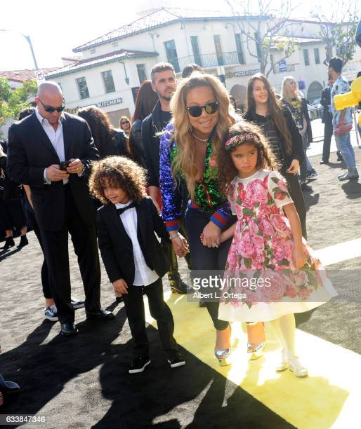 Singersongwriter Mariah Carey Moroccan Scott Cannon and Monroe Cannon arrive for the Premiere Of Warner Bros Pictures' 'The LEGO Batman Movie' held...