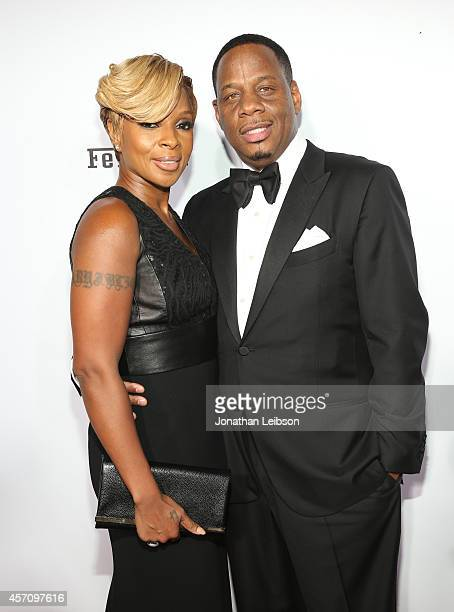 Singer/songwriter Mary J Blige and Kendu Isaacs attend Ferrari Celebrates 60 Years In America on October 11 2014 in Los Angeles California