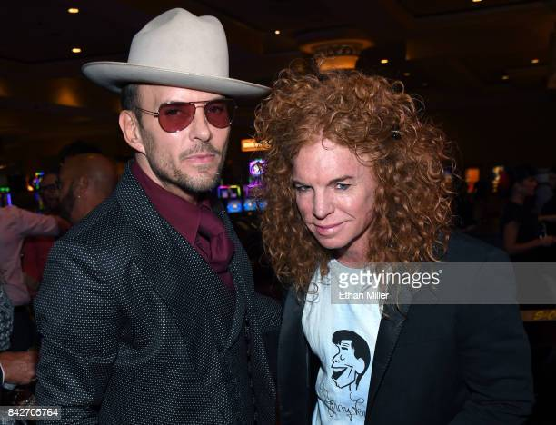 Singer/songwriter Matt Goss and comedian Carrot Top arrive at a memorial for Jerry Lewis at the South Point Hotel Casino on September 4 2017 in Las...