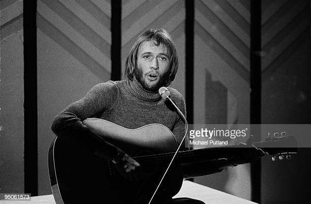 Singersongwriter Maurice Gibb of the Bee Gees giving a solo performance on BBC television's Young Generation show in London April 1970