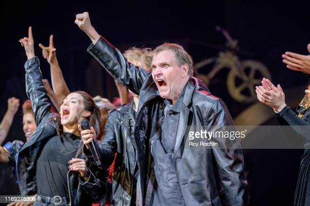 Singersongwriter Meat Loaf on stage for a curtain call as he visits the Bat Out Of Hell performance at New York City Center on August 20 2019 in New...