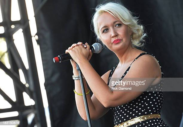 Singer/Songwriter Meghan Linsey of Steel Magnolia perform at the First Annual Delta Country Jam Day 1 on October 4 2013 in Tunica Mississippi