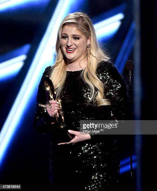 Singer/songwriter Meghan Trainor accepts the Top Hot 100 Song award for 'All About That Bass' onstage during the 2015 Billboard Music Awards at MGM...