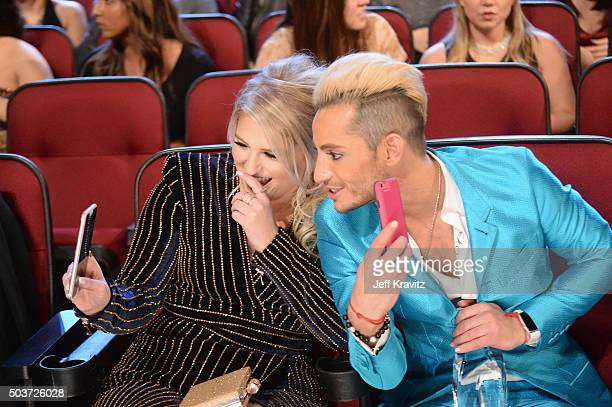 Singersongwriter Meghan Trainor and dancer Frankie J Grande attend the People's Choice Awards 2016 at Microsoft Theater on January 6 2016 in Los...