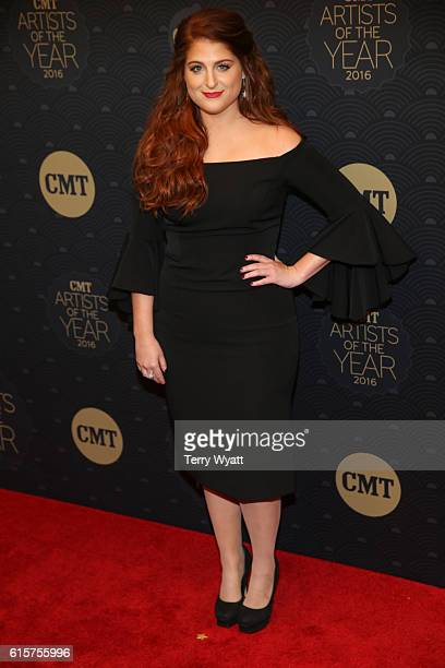 Singersongwriter Meghan Trainor arrives on the red carpet at CMT Artists of the Year 2016 at Schermerhorn Symphony Center on October 19 2016 in...