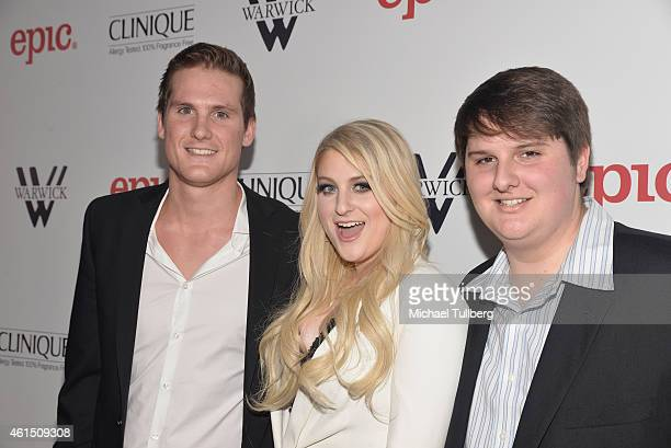 Singer/songwriter Meghan Trainor attends the release party for her debut album 'Title' with brothers Ryan Trainor and Justin Trainor at Warwick on...