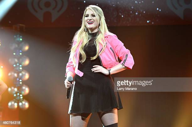 Singer/songwriter Meghan Trainor performs onstage at Y100's Jingle Ball Village Y100's Jingle Ball 2014 official preshow at BBT Center on December 21...