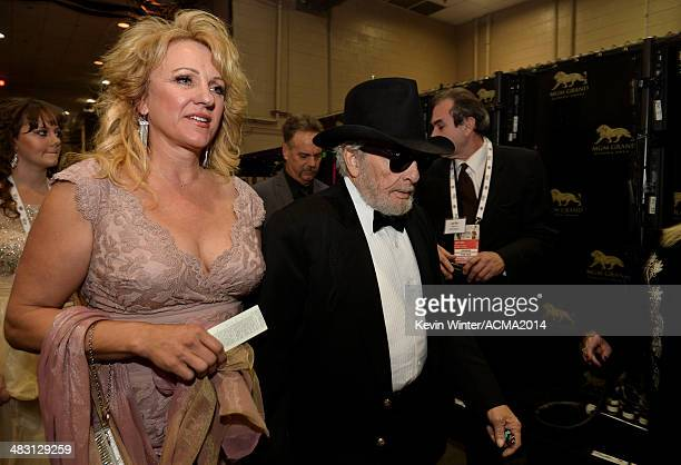 Singer/songwriter Merle Haggard and wife Theresa Ann Lane attend the 49th Annual Academy of Country Music Awards at the MGM Grand Garden Arena on...