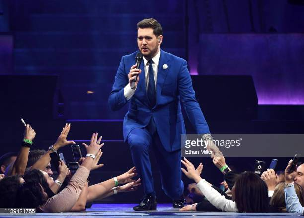 Singer/songwriter Michael Buble performs at TMobile Arena on March 30 2019 in Las Vegas Nevada